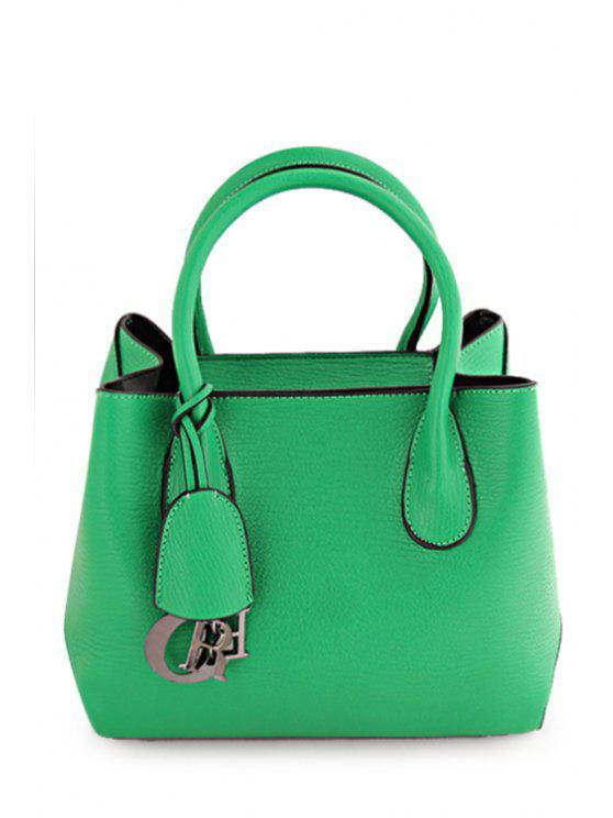 hot Solid Color Pendant Metal Tote Bag - GREEN