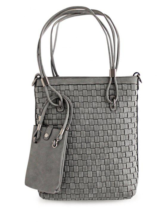 sale Metal Solid Color Weaving Shoulder Bag - GRAY