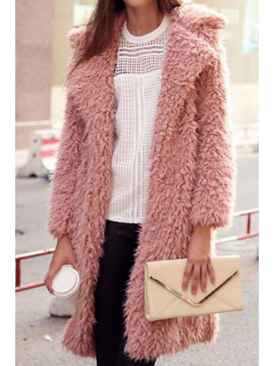 hot Solid Color Faux Fur Turn-Down Collar Coat - PINK S