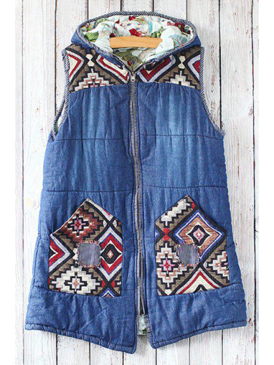 latest Argyle Pattern Spliced Hooded Waistcoat - BLUE ONE SIZE(FIT SIZE XS TO M)