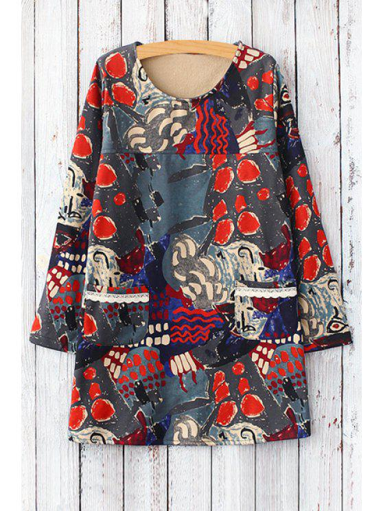 outfits Abstract Print Jewel Neck Long Sleeve Dress - RED ONE SIZE(FIT SIZE XS TO M)