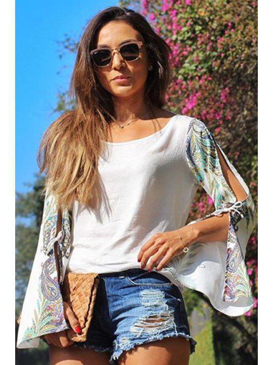 women's Chiffon Round Collar Bell Sleeves T-Shirt - WHITE S