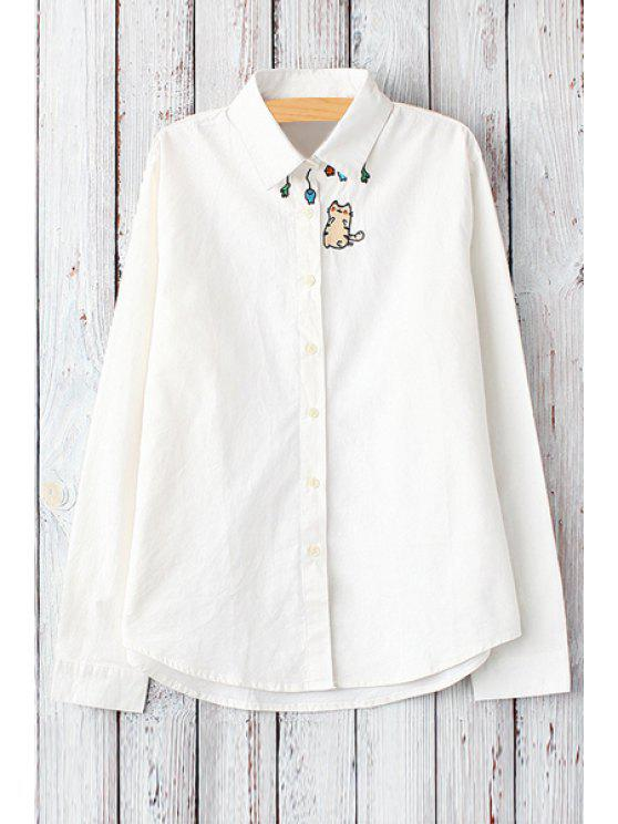 buy Cat Embroidery Shirt Neck Long Sleeve Shirt - WHITE ONE SIZE(FIT SIZE XS TO M)
