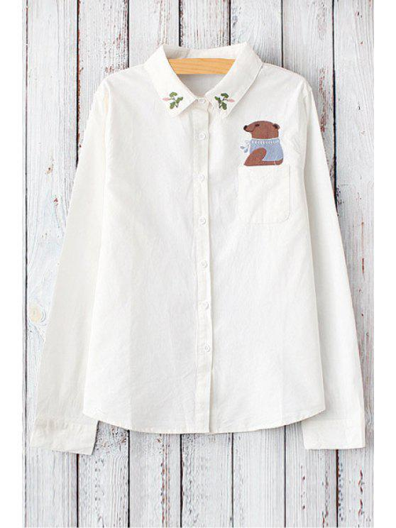 women Bear Embroidery Shirt Neck Long Sleeve Shirt - WHITE ONE SIZE(FIT SIZE XS TO M)
