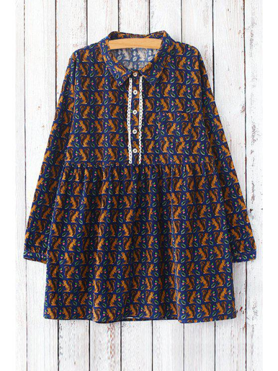 shops Squirrel Print Turn Down Collar Long Sleeve Dress - DEEP BLUE ONE SIZE(FIT SIZE XS TO M)