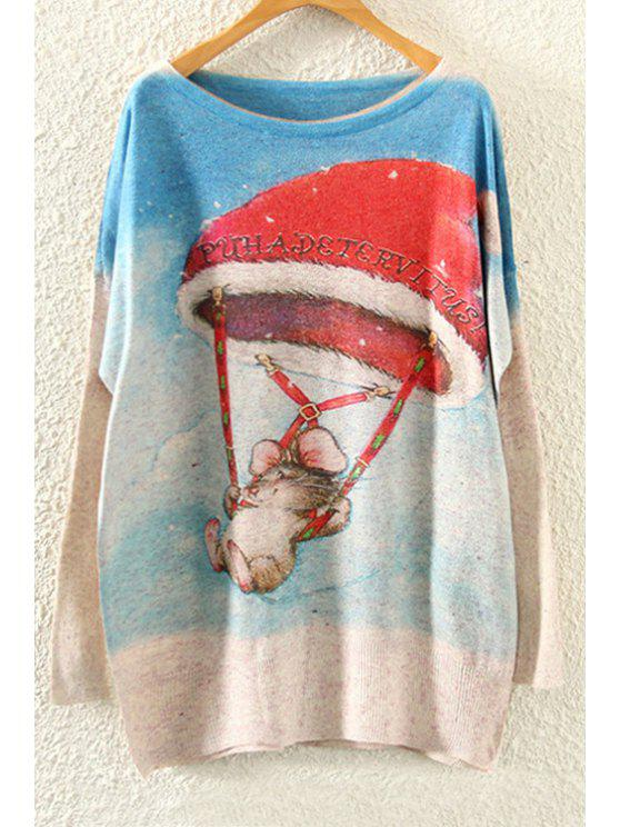 fashion Mouse Print Long Sleeve Christmas Jumper - BEIGE ONE SIZE(FIT SIZE XS TO M)
