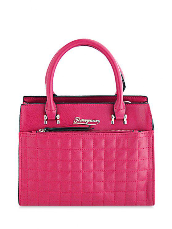 women Letter Checked Stitching Tote Bag - ROSE