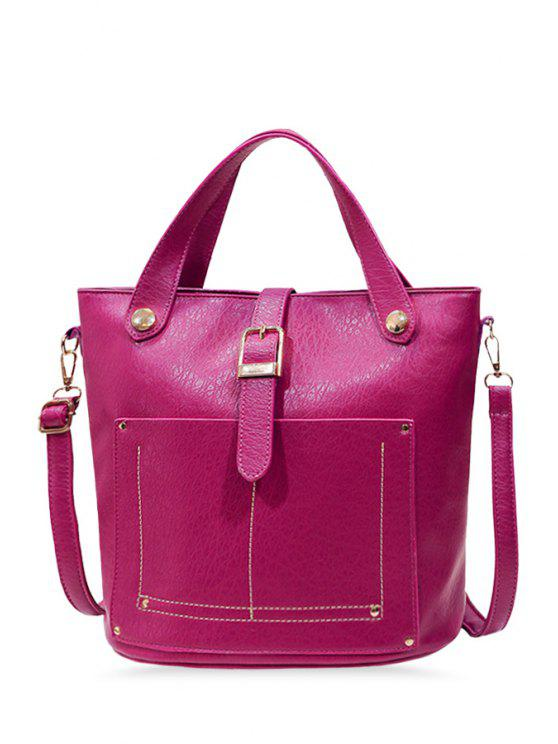 lady Stitching Metal Buckle Tote Bag - ROSE