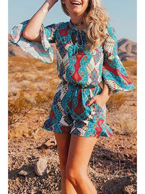 chic Cut Out Lace-Up Bell Sleeves Romper - BLUE S