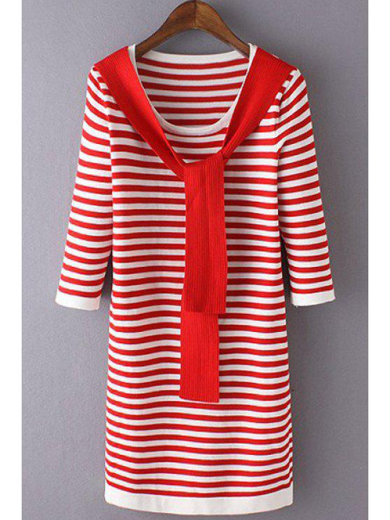 online 3/4 Sleeve Striped Sweater Dress - RED ONE SIZE(FIT SIZE XS TO M)