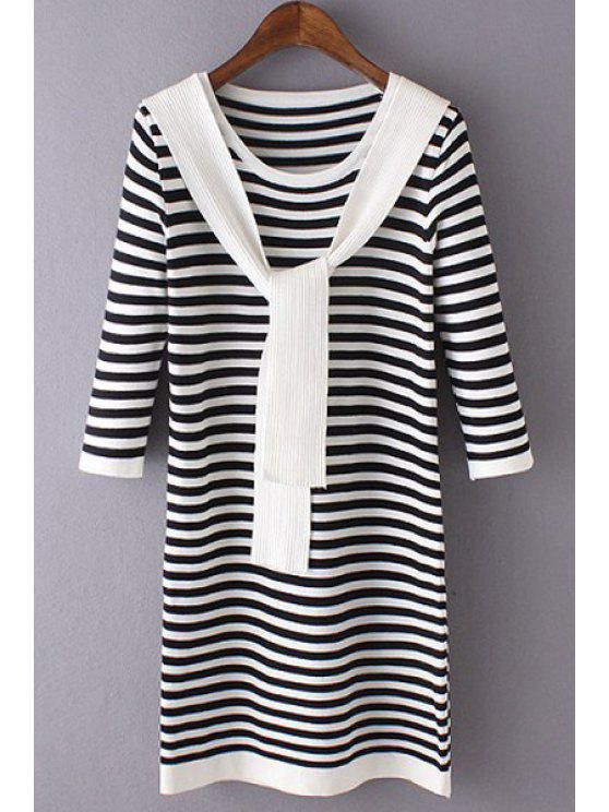 new 3/4 Sleeve Striped Sweater Dress - BLACK ONE SIZE(FIT SIZE XS TO M)
