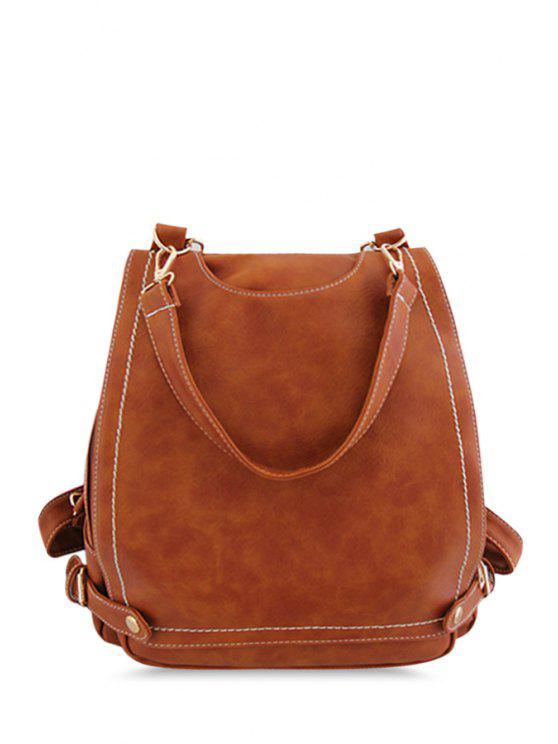 trendy Stitching Metal Solid Color Satchel - LIGHT BROWN