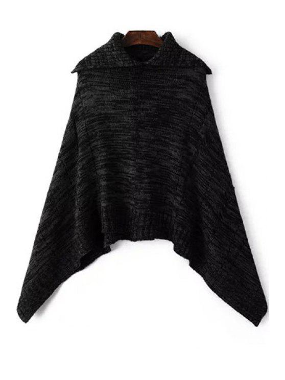 outfits Turn-Down Collar Irregular Cloak Sweater - BLACK ONE SIZE(FIT SIZE XS TO M)