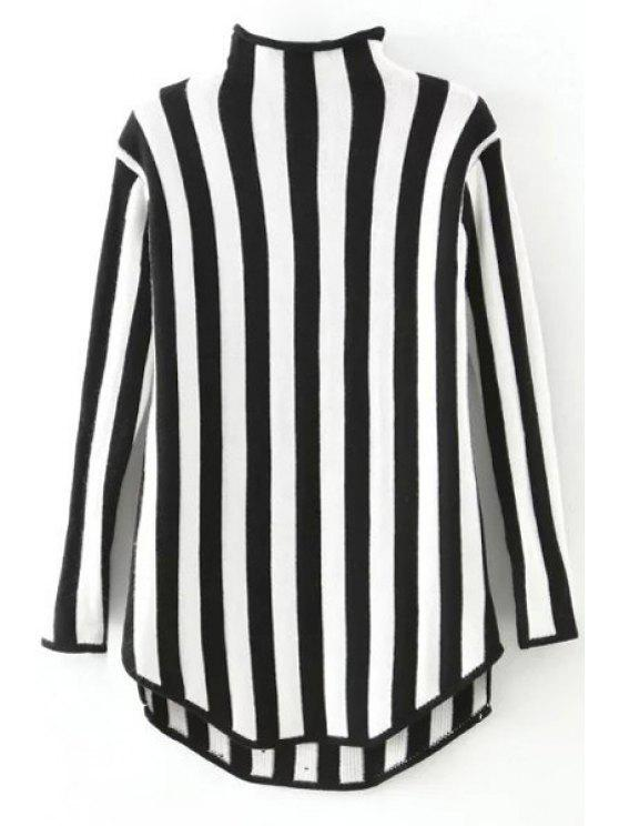 trendy Stand Neck Vertical Stripes Sweater - BLACK ONE SIZE(FIT SIZE XS TO M)