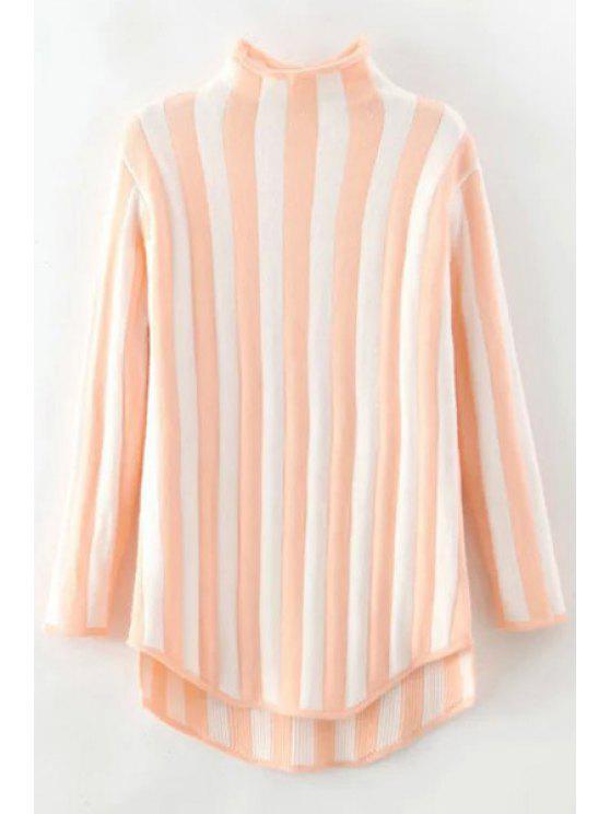 Suéter de rayas verticales con cuello de pie - Rosa Un tamaño(Montar tam