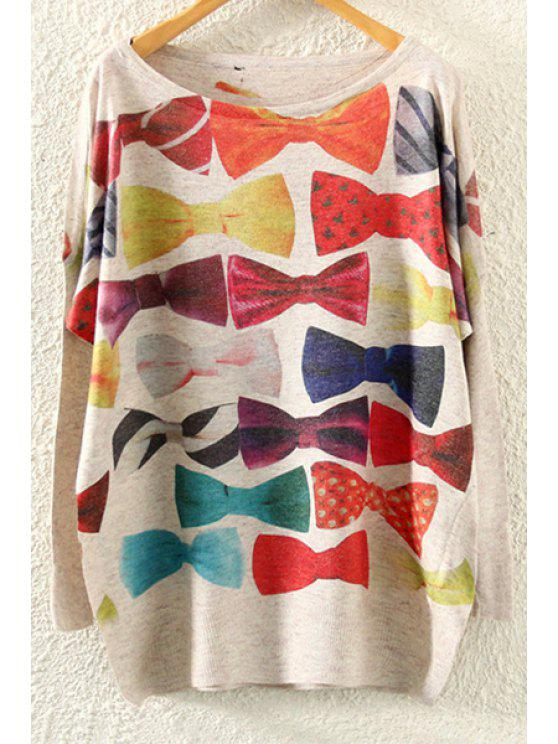 sale Bowknot Print Long Sleeve Jumper - BEIGE ONE SIZE(FIT SIZE XS TO M)