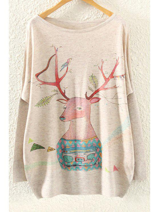 affordable Fawn Print Long Sleeve Jumper - BEIGE ONE SIZE(FIT SIZE XS TO M)