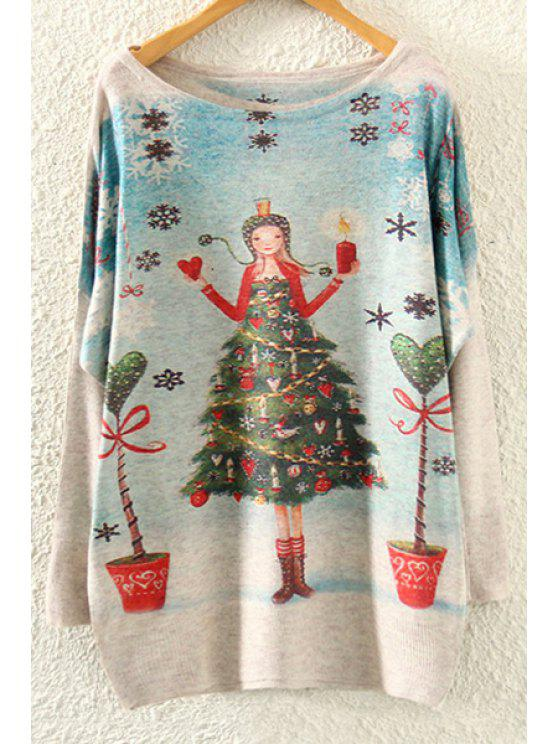 womens Christmas Tree Print Long Sleeve Jumper - BEIGE ONE SIZE(FIT SIZE XS TO M)