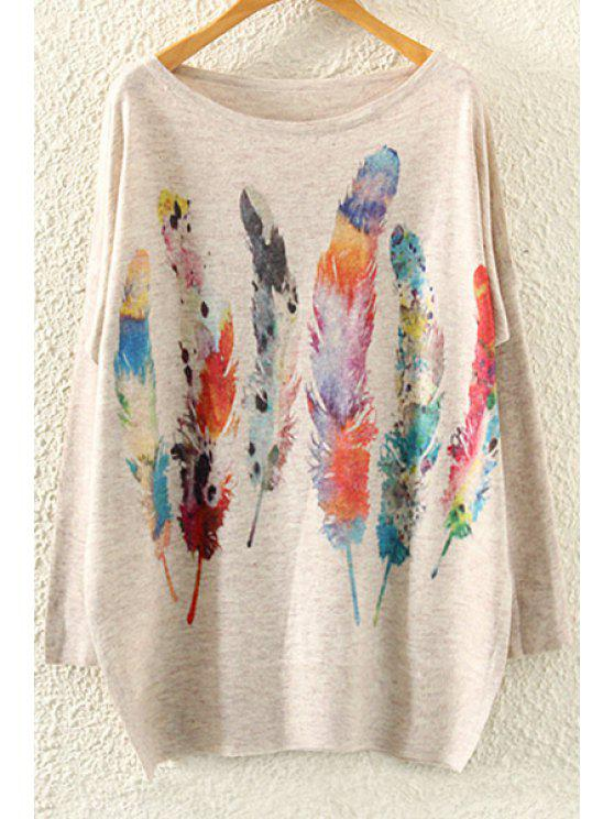 women's Feather Print Long Sleeve Jumper - BEIGE ONE SIZE(FIT SIZE XS TO M)