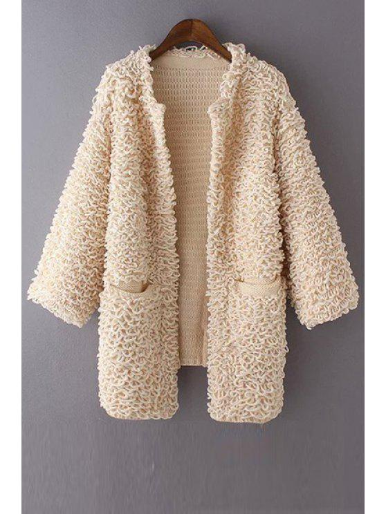 fancy Round Neck Pocket Design Cardigan - OFF-WHITE ONE SIZE(FIT SIZE XS TO M)