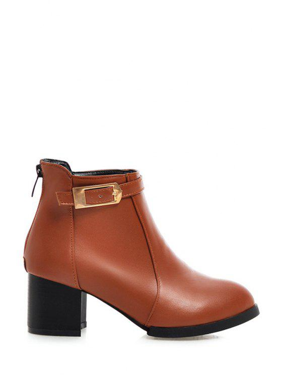 trendy Chunky Heel Buckle Solid Color Short Boots - BROWN 34