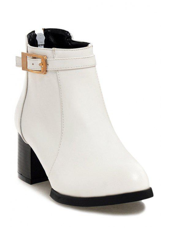 cdd04af3efd0 40% OFF  2019 Chunky Heel Buckle Solid Color Short Boots In WHITE ...