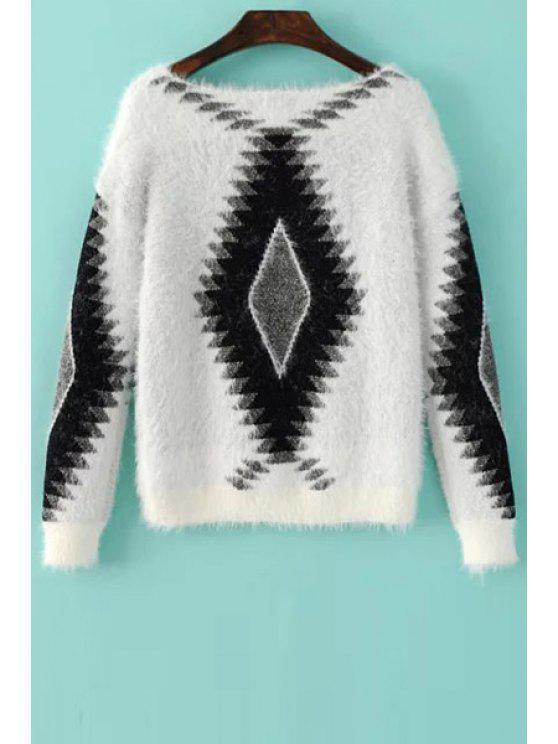 buy Geometric Pattern Fuzzy Sweater - WHITE S