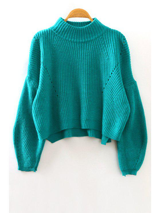 best High Low Stand Neck Long Sleeve Jumper - GREEN ONE SIZE(FIT SIZE XS TO M)