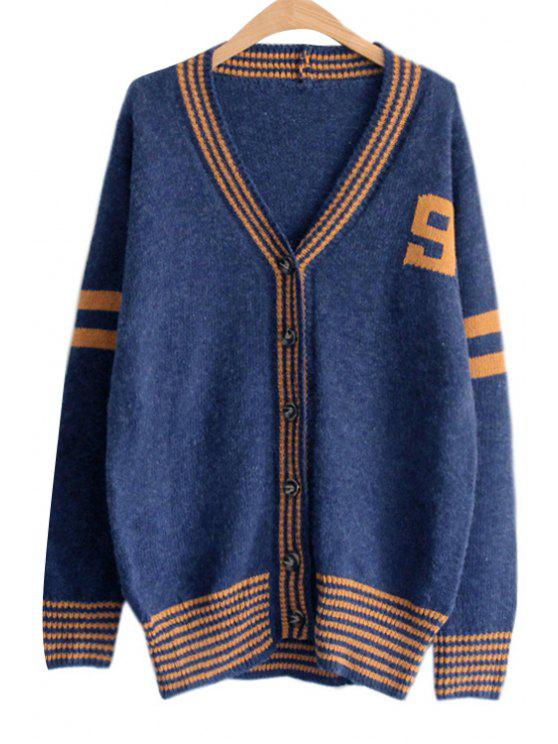 hot Stripes Spliced V Neck Long Sleeve Cardigan - BLUE ONE SIZE(FIT SIZE XS TO M)