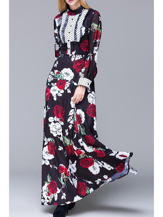 shop Rose Print Long Puff Sleeves Maxi Dress - BLACK S