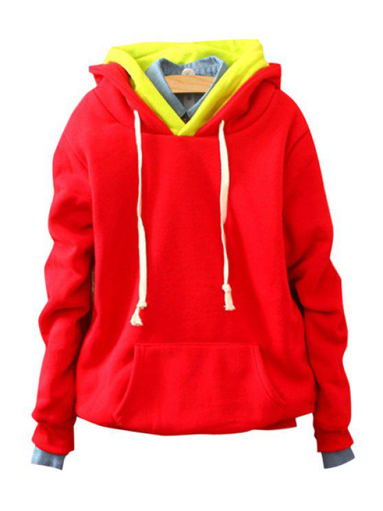best Front Pocket Long Sleeve Pullover Hoodie - RED ONE SIZE(FIT SIZE XS TO M)