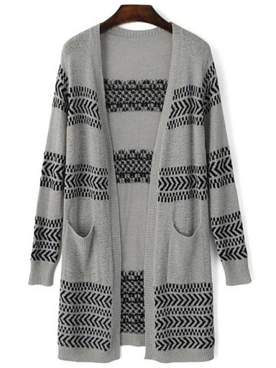 lady Two Pockets Long Jacquard Cardigan - GRAY ONE SIZE(FIT SIZE XS TO M)
