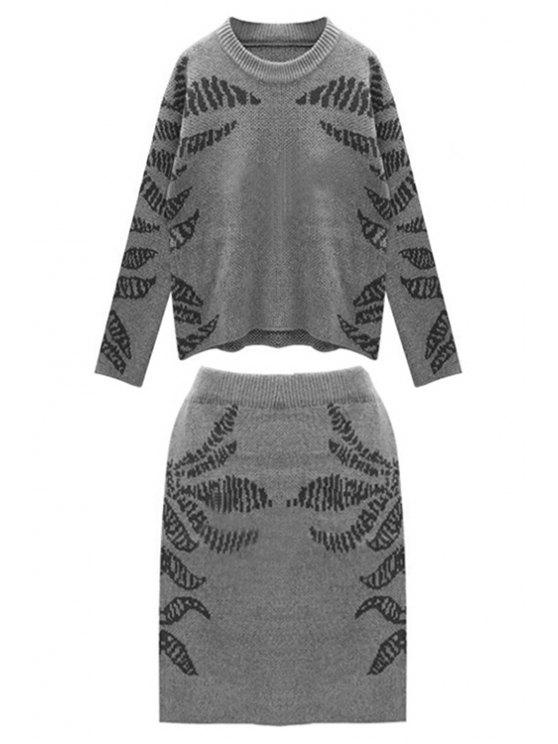 ladies Blue Pattern Long Sleeve Jumper and Skirt Suit - BLACK ONE SIZE(FIT SIZE XS TO M)