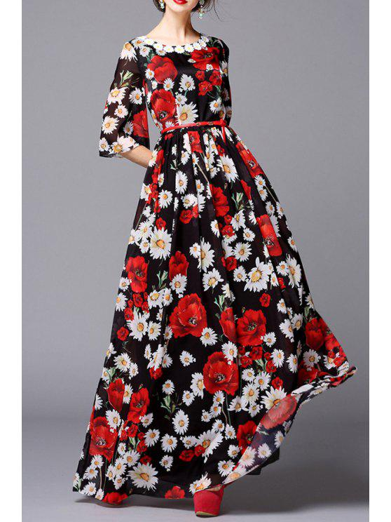 women Flower Print Voile Half Sleeves Maxi Dress - BLACK AND WHITE AND RED S