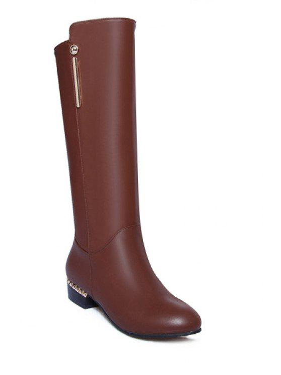 affordable Metal Flat Heel Solid Color Mid-Calf Boots - BROWN 34