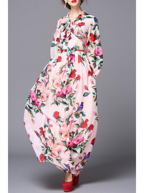 outfit Flower Print Tie Collar Puff Sleeves Voile Maxi Dress - PINK S