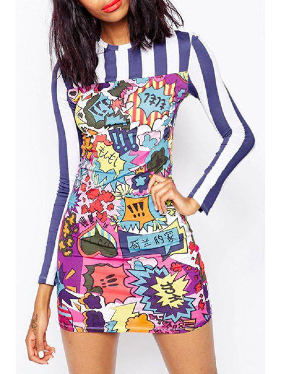 buy Cartoon Print Mini Round Collar Long Sleeves Dress - COLORMIX XS