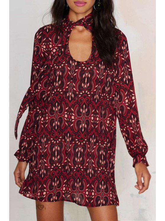 best Vintage Print Cut Out Long Sleeves Chiffon Dress - RED XS