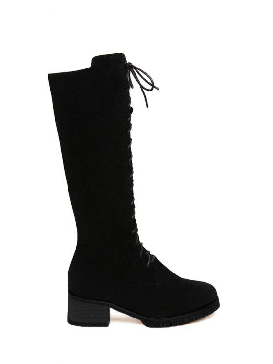 outfit Chunky Heel Stitching Suede Mid-Calf Boots - BLACK 38