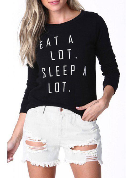 hot Letter Print Round Collar Long Sleeves T-Shirt - BLACK XS