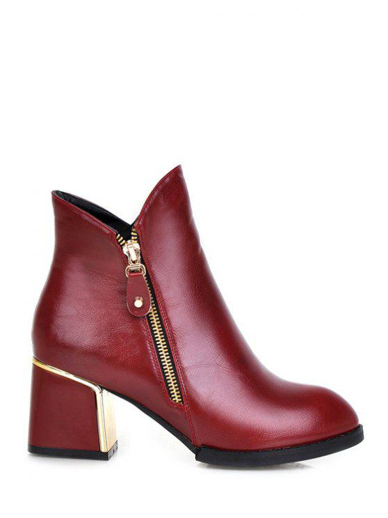 chic Chunky Heel Pure Color Zipper Short Boots - RED 35