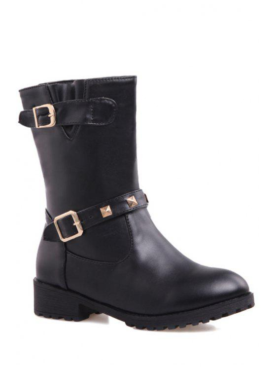 outfit Rivet Buckles Solid Color Mid-Calf Boots - BLACK 34