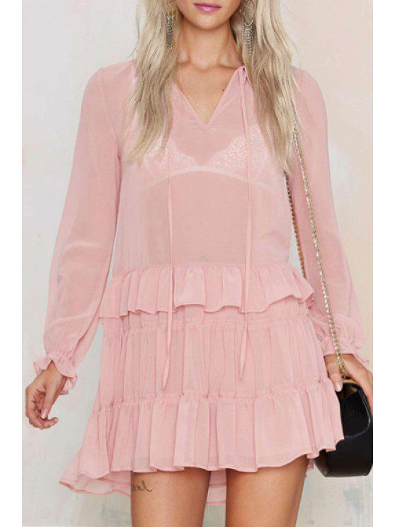 fancy Lace-Up Solid Color Ruffles V-Neck Dress - PINK XS
