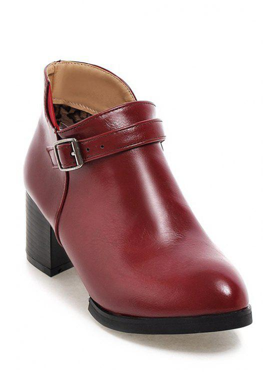 womens Buckle Solid Color Chunky Heel Ankle Boots - RED 34