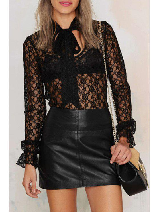 chic See-Through Cut Out Lace Long Sleeves Blouse - BLACK XS