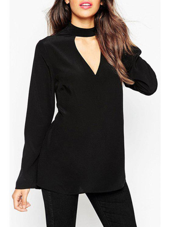 womens Solid Color Cut Out Stand Neck Long Sleeves Blouse - BLACK XS