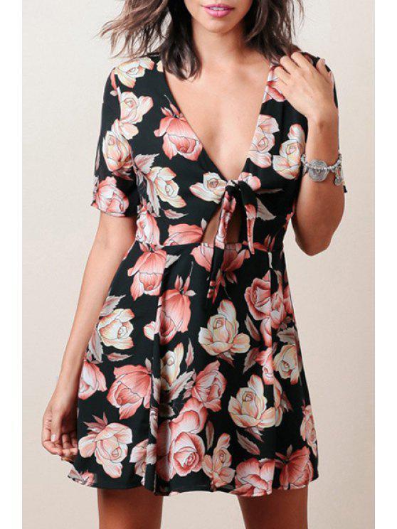 hot Flower Print Tied Plunging Neck Short Sleeves Dress - BLACK XS
