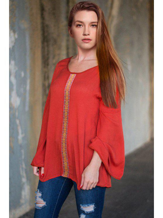 shops Solid Color Loose Fitting Round Collar Long Sleeves Blouse - RED S