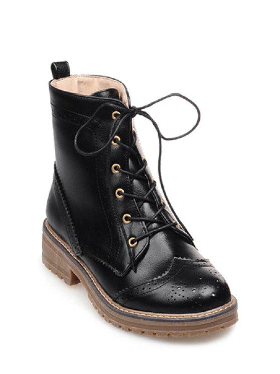 outfit Engraving Lace-Up Pure Color Short Boots - BLACK 34