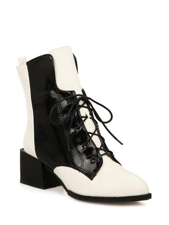 outfits Colour Block Chunky Heel Short Boots - WHITE 39